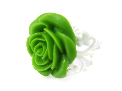 Green Rose Ring Adjustable Flower Jewelry