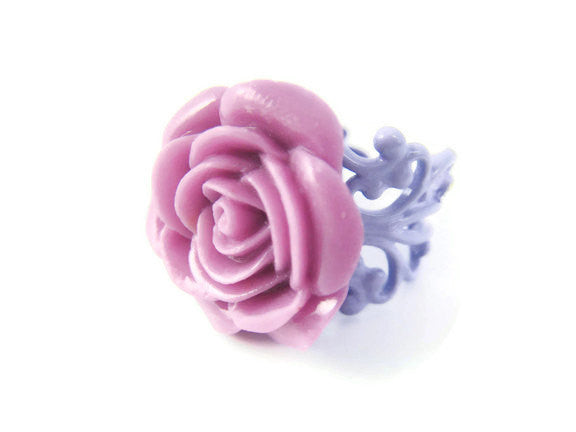 Purple Rose Ring Adjustable Flower Jewelry
