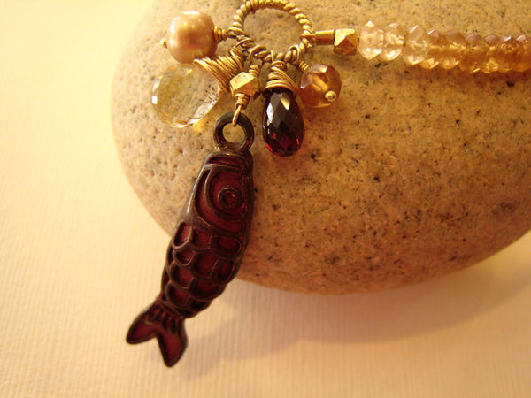 Koi Fish Charm Pendant Necklace - Sienna Grace Jewelry