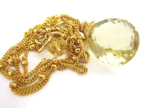 Lemon Quartz Wire Wrapped Gold Filled Pendant Necklace - Sienna Grace Jewelry