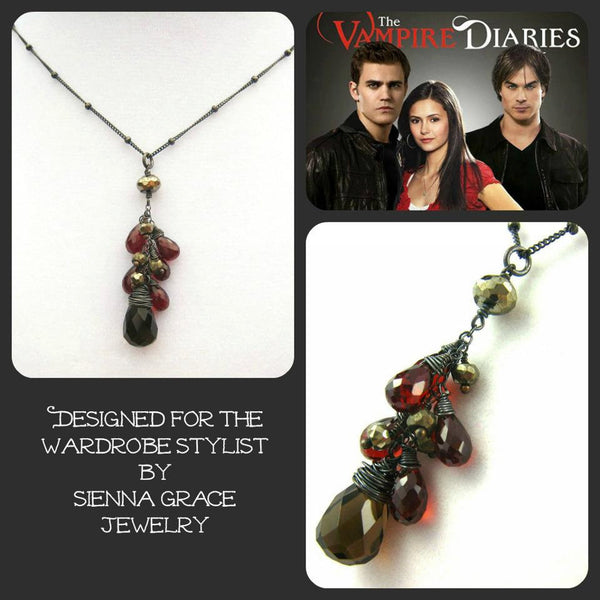 As Seen On The Vampire Diaries Elenas Smoky Quartz Red Garnet Necklace
