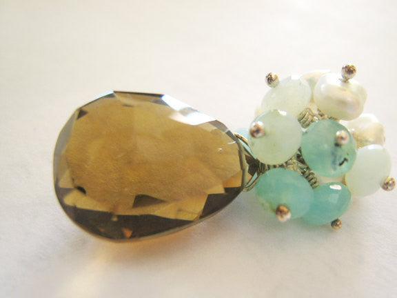 Whiskey Quartz Necklace with Blue Peruvian Opals and Keshi Pearls