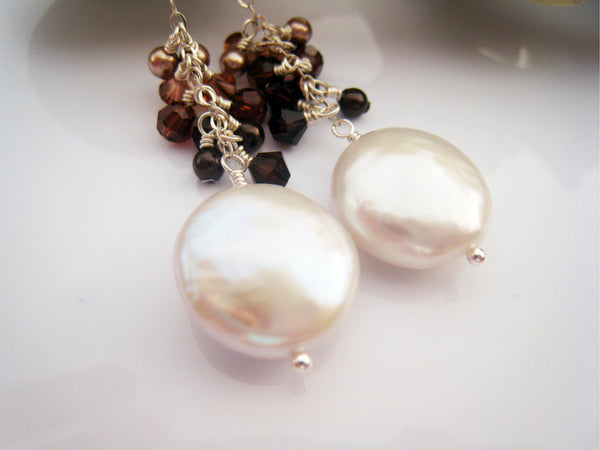 Pearl Earrings Coin Pearl Earring with Swarovski Crystal Cluster - Sienna Grace Jewelry