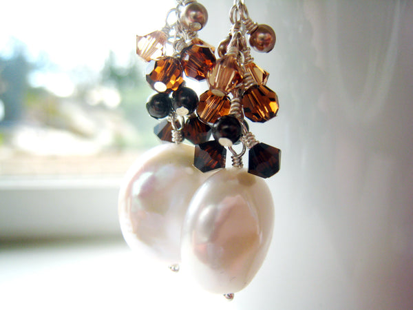 Pearl Earrings Coin Pearl Earring with Swarovski Crystal Cluster - Sienna Grace Jewelry | Pretty Little Handcrafted Sparkles