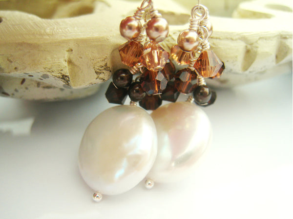 Pearl Earrings Coin Pearl Earring with Swarovski Crystal Cluster