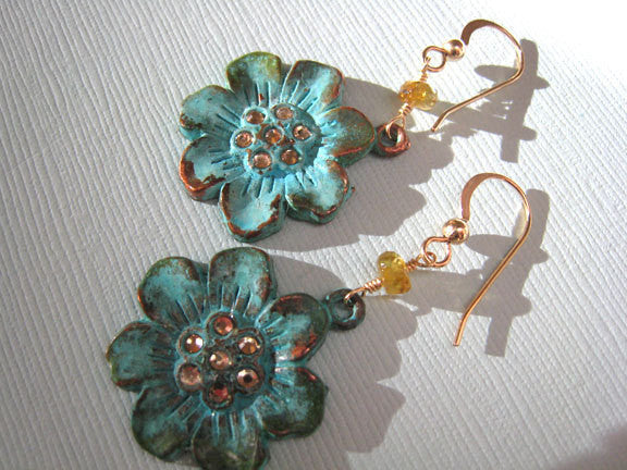 Verdigris Flower Sakura Blossom Earrings - Sienna Grace Jewelry | Pretty Little Handcrafted Sparkles