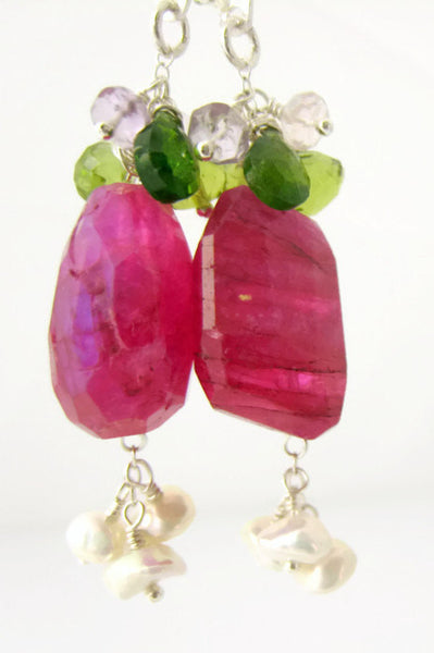 Ruby Moonstone Nugget Statement Earrings with Pearls and Gemstones - Sienna Grace Jewelry
