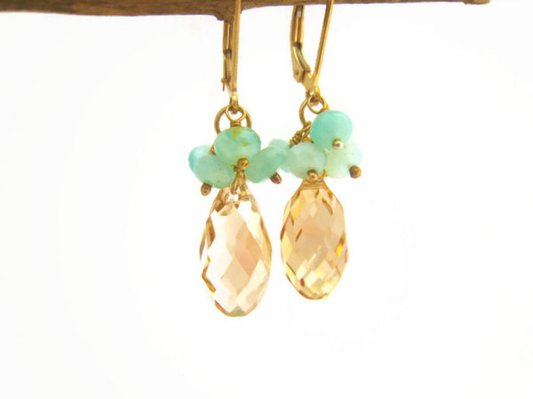 Crystal Earrings Swarovski Crystal Earring With Peruvian Opal Cluster - Sienna Grace Jewelry | Pretty Little Handcrafted Sparkles