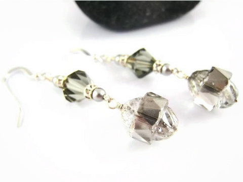 Silver Crystal Earrings Looks Like Mercury Glass - Sienna Grace Jewelry | Pretty Little Handcrafted Sparkles