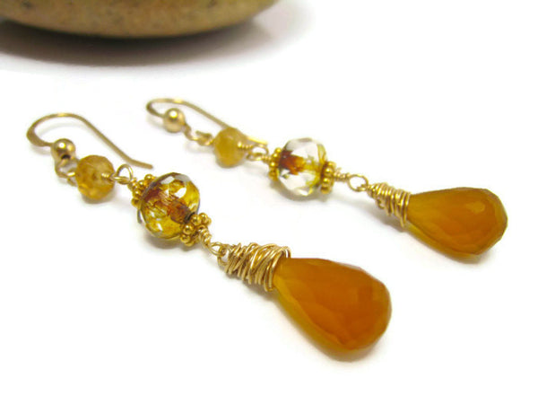 Hessonite Garnet Dangle Drop Earrings