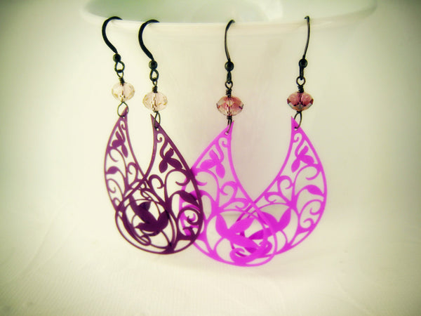 Purple Paisley Filigree Earrings Bohemian Style