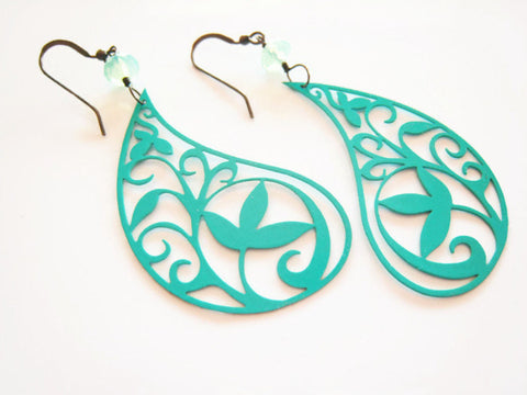 Turquoise Paisley Earrings Bohemian Style