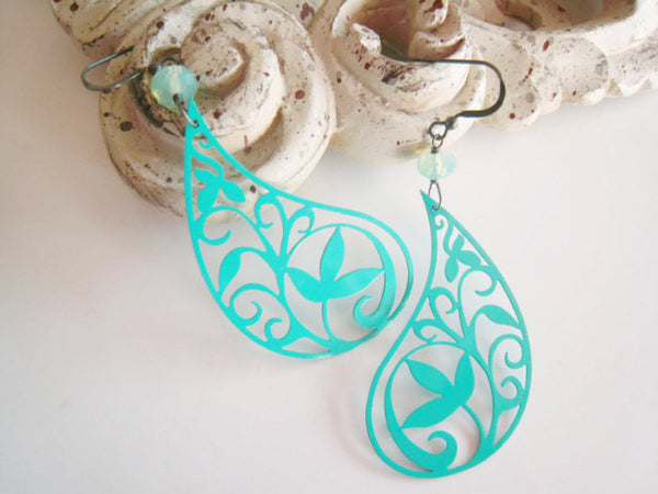 Turquoise Paisley Earrings Bohemian Style - Sienna Grace Jewelry | Pretty Little Handcrafted Sparkles