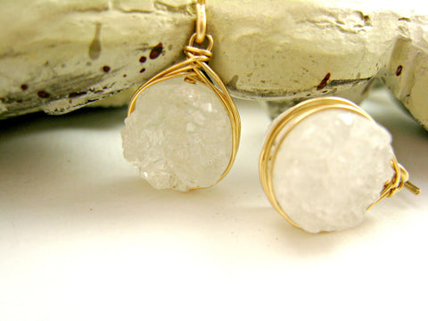 White Druzy Quartz Earrings - Sienna Grace Jewelry | Pretty Little Handcrafted Sparkles