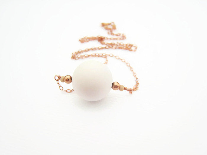 Minimalist White Bead and Rose Gold Necklace