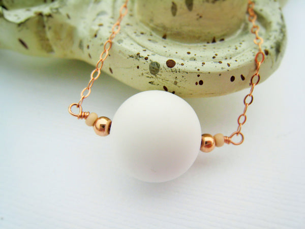 Minimalist White Bead and Rose Gold Necklace - Sienna Grace Jewelry