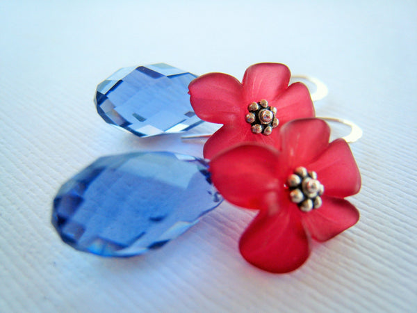 Red Lucite Flower and Blue Crystal Earrings - Sienna Grace Jewelry | Pretty Little Handcrafted Sparkles