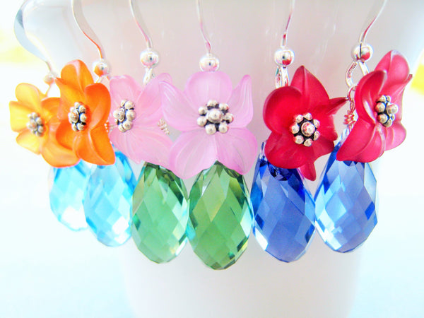 Lucite and Crystal Flower Earrings