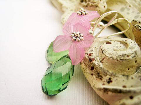 Pink Lucite and Green Crystal Earrings