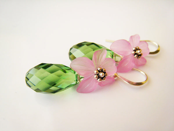 Pink Lucite and Green Crystal Earrings - Sienna Grace Jewelry | Pretty Little Handcrafted Sparkles