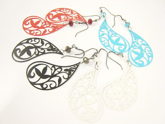 Royal Blue Paisley Earrings Bohemian Style - Sienna Grace Jewelry