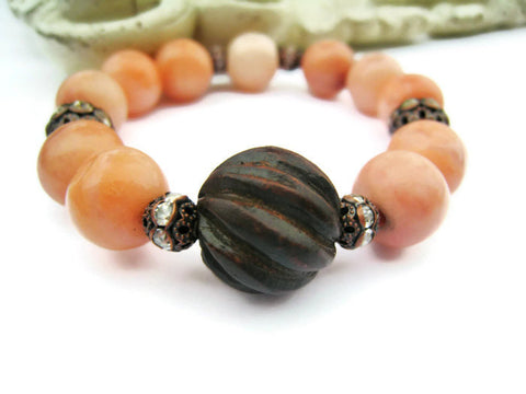 Peach Jasper Stretch Stacking Style Bracelet