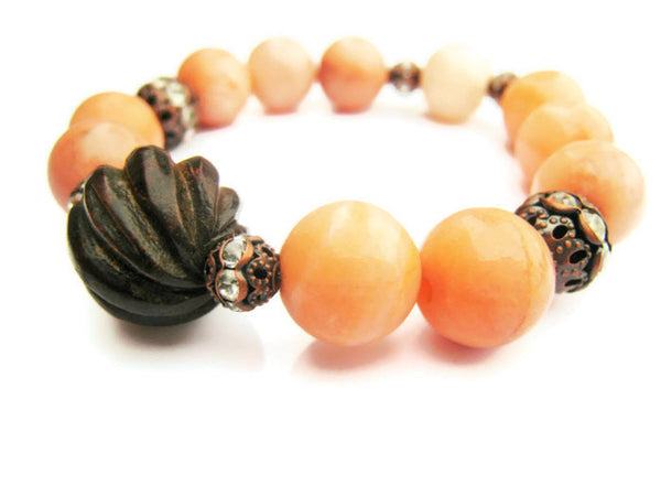 Peach Jasper Stretch Stacking Style Bracelet - Sienna Grace Jewelry | Pretty Little Handcrafted Sparkles