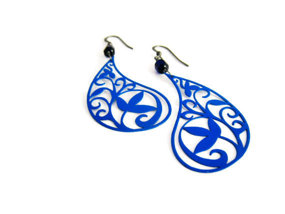 Royal Blue Paisley Earrings Bohemian Style