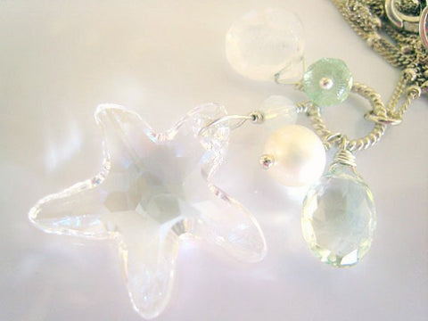 Swarovski Crystal Starfish Charm Necklace - Sienna Grace Jewelry | Pretty Little Handcrafted Sparkles