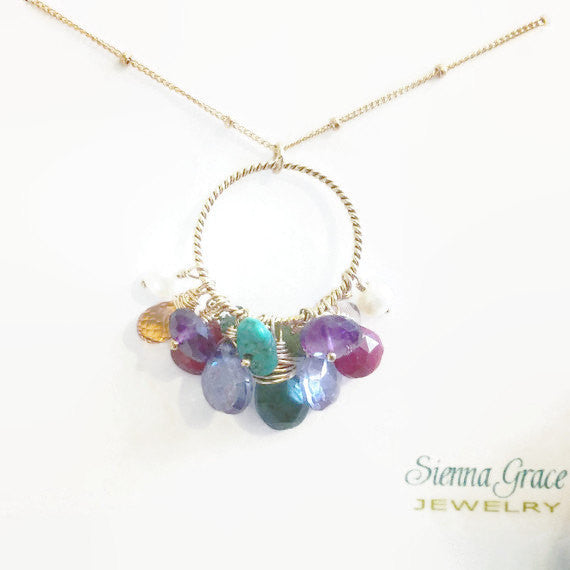 Mothers Necklace Birthstone Keepsake Jewelry For Mom Grandmother - Sienna Grace Jewelry | Pretty Little Handcrafted Sparkles