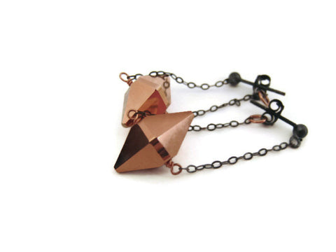 Minimalist Rose Gold Crystal Spike Earring