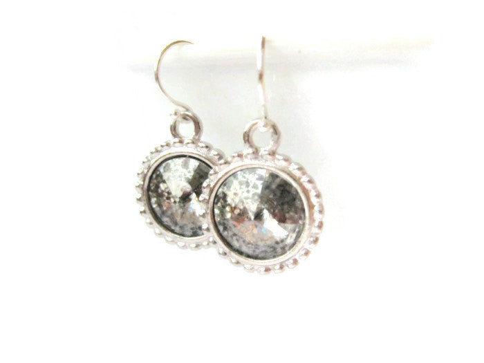 Swarovski Silver Rivoli Style Drop Earrings Holiday Jewelry - Sienna Grace Jewelry | Pretty Little Handcrafted Sparkles
