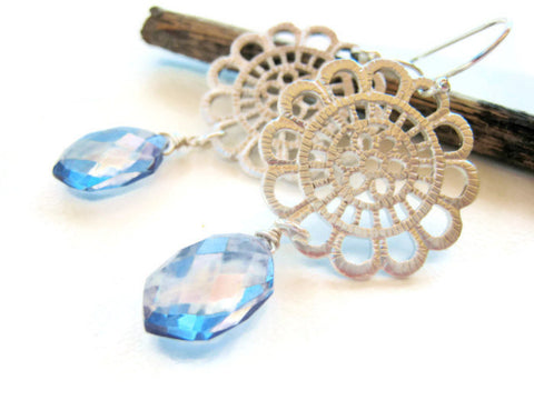 Blue Mystic Quartz Earrings Silver Filigree Drop Earring