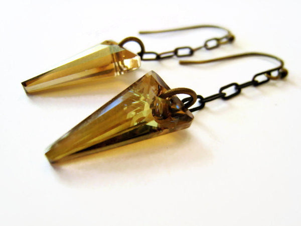 Swarovski Gold Crystal Spike Earrings - Sienna Grace Jewelry | Pretty Little Handcrafted Sparkles