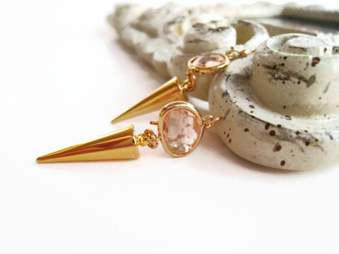 Minimalist Gold Spike Earrings with Pink Glass Stone