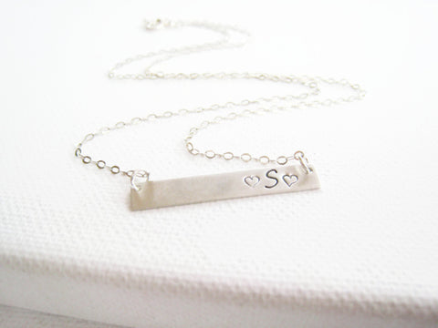 Sterling Silver Bar Necklace Hand Stamped Personalized