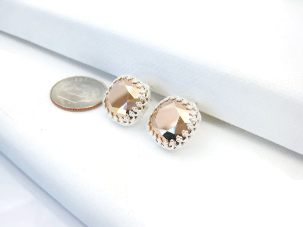 Swarovski Rose Gold Crystal Post Style Earrings