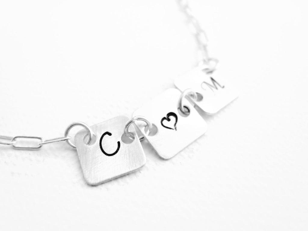 Initial Necklace Hand Stamped Personalized Couples Jewelry - Sienna Grace Jewelry | Pretty Little Handcrafted Sparkles