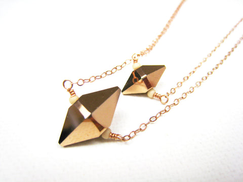 Swarovski Rose Gold Crystal Spike Necklace Double Strand - Sienna Grace Jewelry | Pretty Little Handcrafted Sparkles