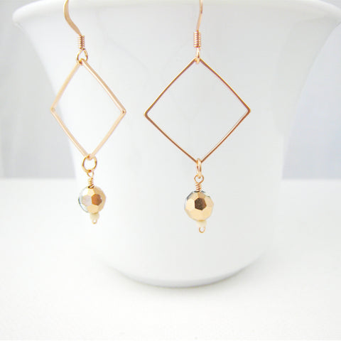 Rose Gold Geometric Minimalist Style Earrings - Sienna Grace Jewelry | Pretty Little Handcrafted Sparkles