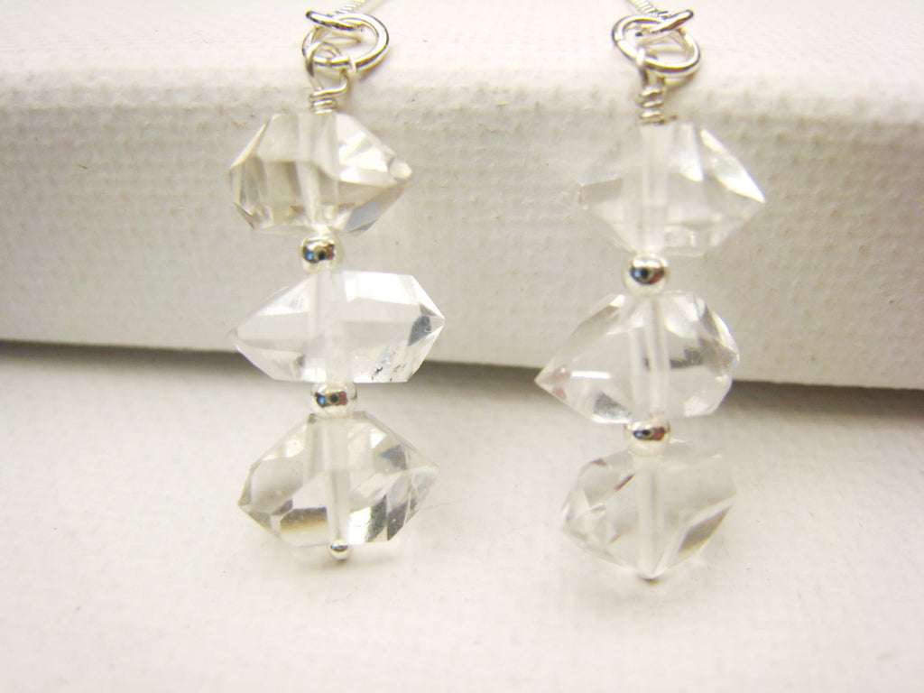 Herkimer Diamond Threader Earrings Minimalist Organic Style - Sienna Grace Jewelry | Pretty Little Handcrafted Sparkles