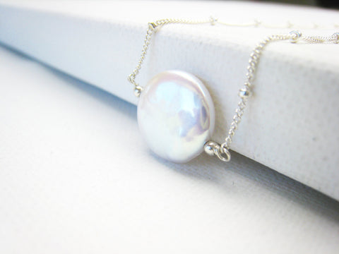 Coin Pearl Necklace Minimalist Style - Sienna Grace Jewelry | Pretty Little Handcrafted Sparkles