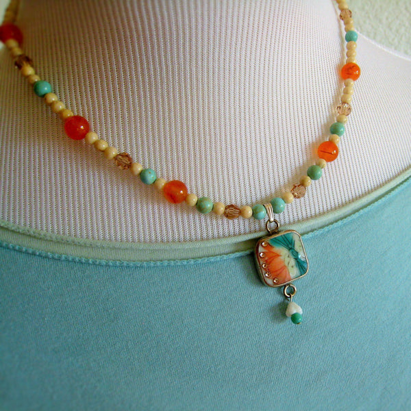 Ming Pottery Shard Teal and Orange Necklace - Sienna Grace Jewelry | Pretty Little Handcrafted Sparkles