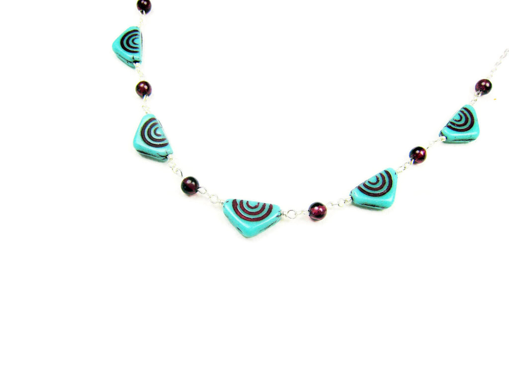 Czech Glass Necklace Turquoise Triangles with Red Garnets