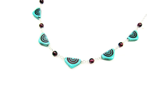 Czech Glass Necklace Turquoise Triangles with Red Garnets - Sienna Grace Jewelry | Pretty Little Handcrafted Sparkles