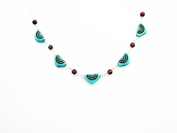 Czech Glass Necklace Turquoise Triangles with Red Garnets - Sienna Grace Jewelry