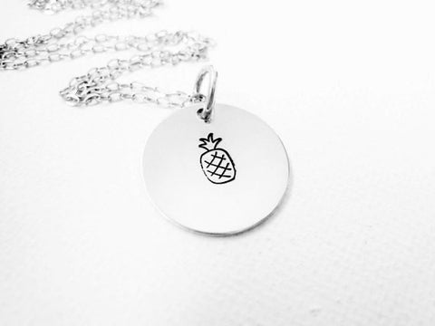 Pineapple Necklace Hand Stamped Pineapple Jewelry