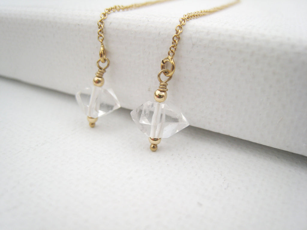 Herkimer Diamond Threader Earrings - Sienna Grace Jewelry | Pretty Little Handcrafted Sparkles