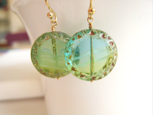 Turquoise Blue Green Czech Glass Earrings - Sienna Grace Jewelry