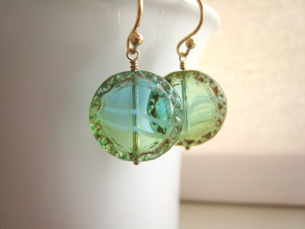 Turquoise Blue Green Czech Glass Earrings - Sienna Grace Jewelry | Pretty Little Handcrafted Sparkles